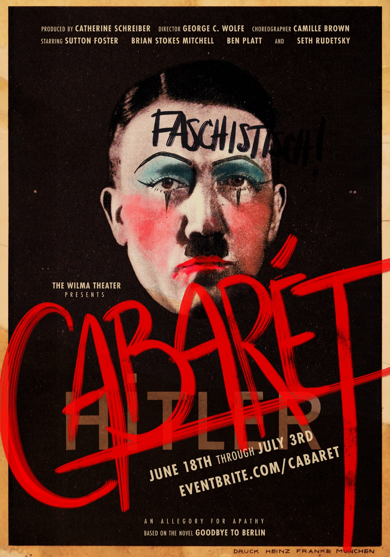 A Cabaret poster created by defacing a Hitler poster