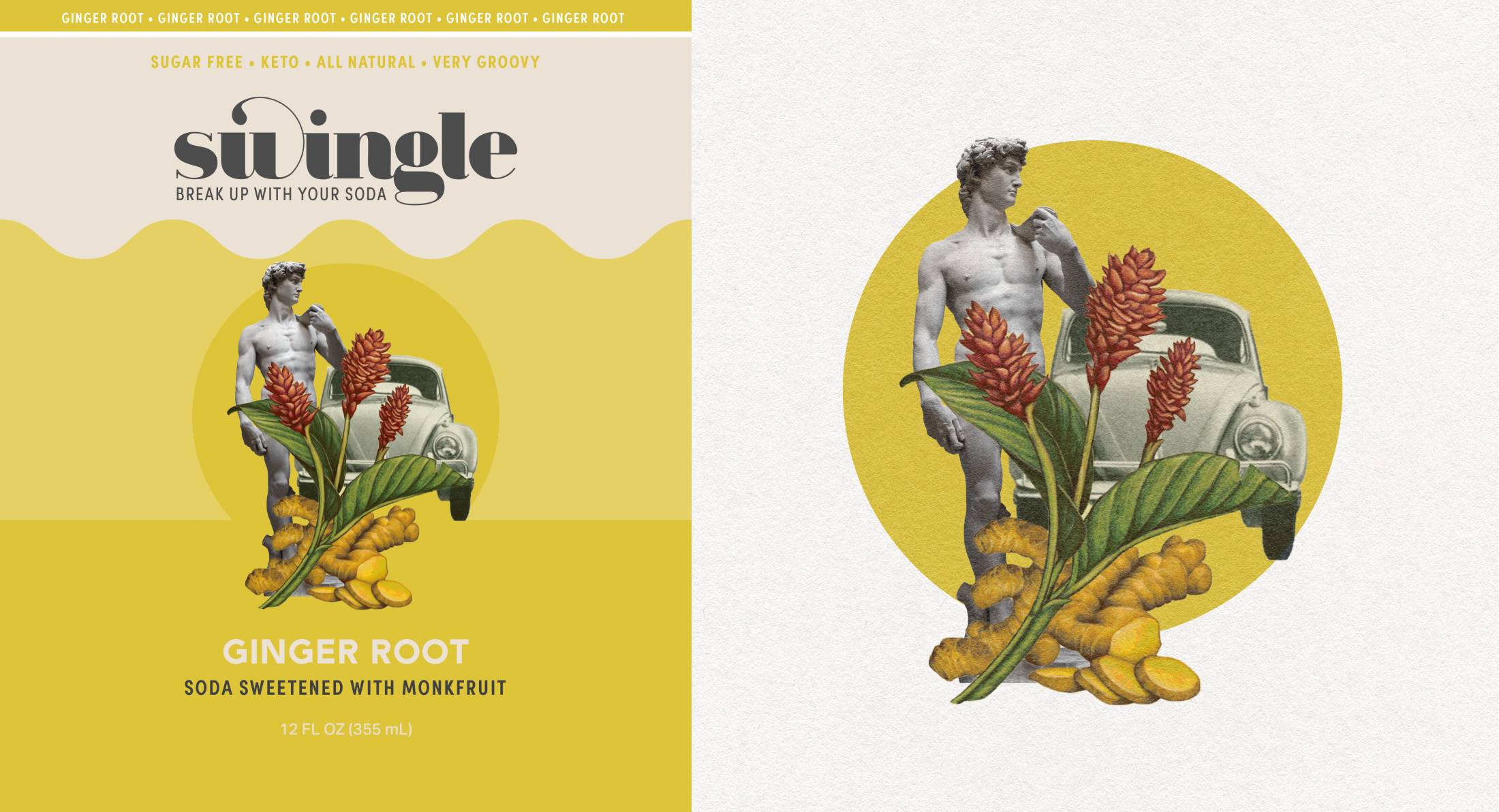 Label Art: A collage of David, ginger plant, VW beetle, and a ginger colored circle.