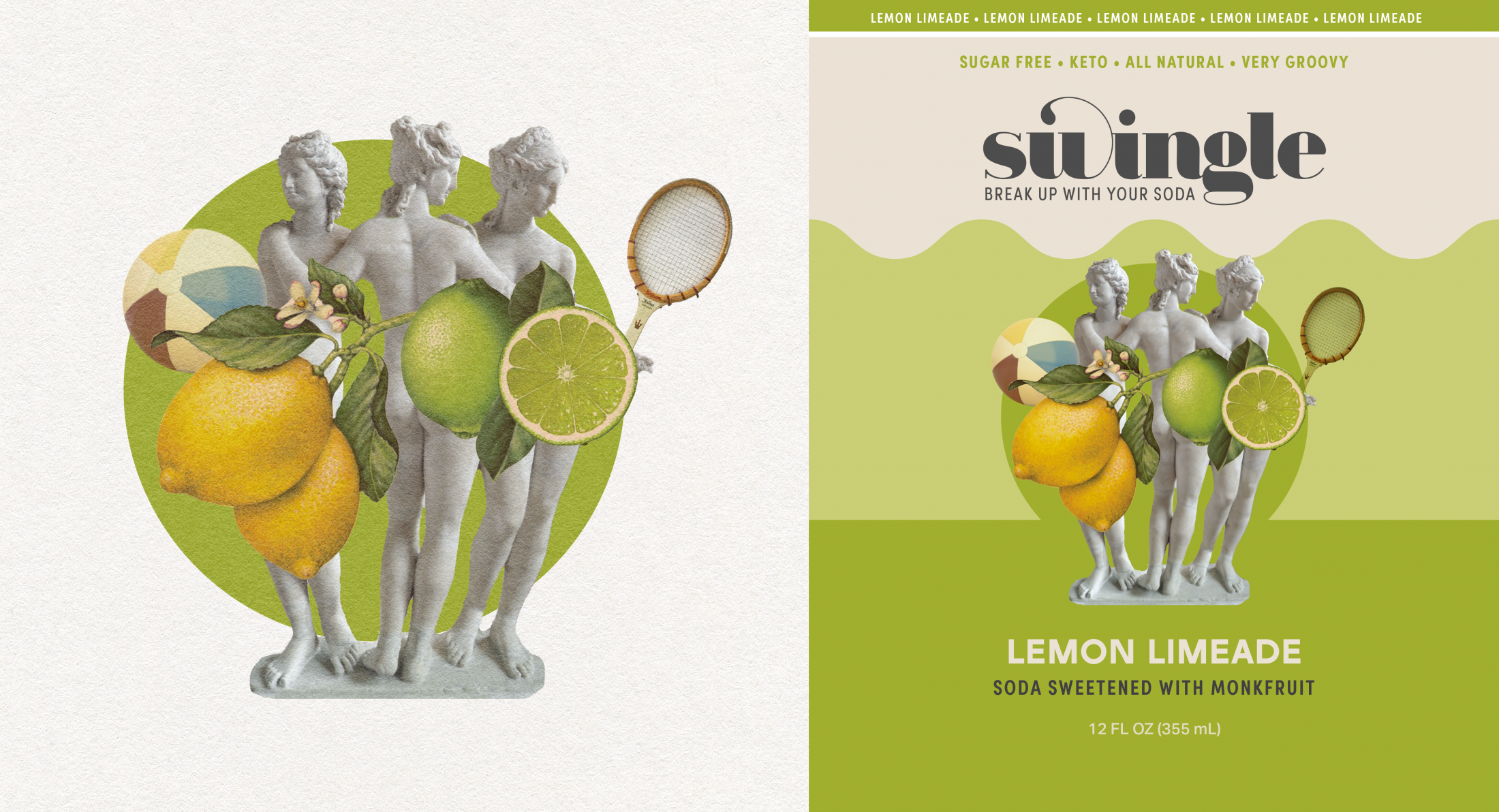 Label Art: A collage of statue ladies censored by lemons and limes, holding tennis rackets over a green circle.