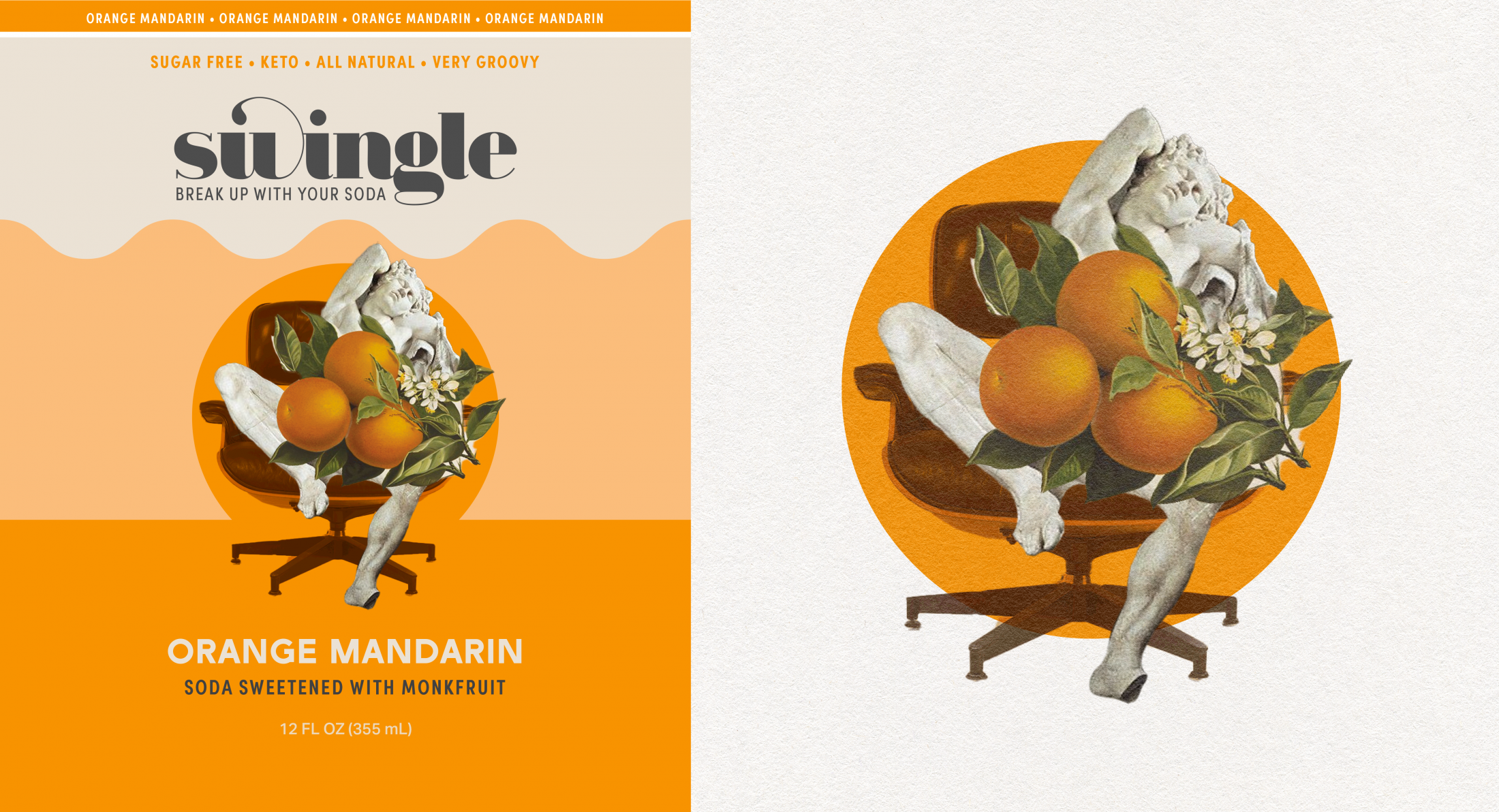 Label Art: A greek statue reclining in an Eames chair, censored by oranges with an orange circle in the background.