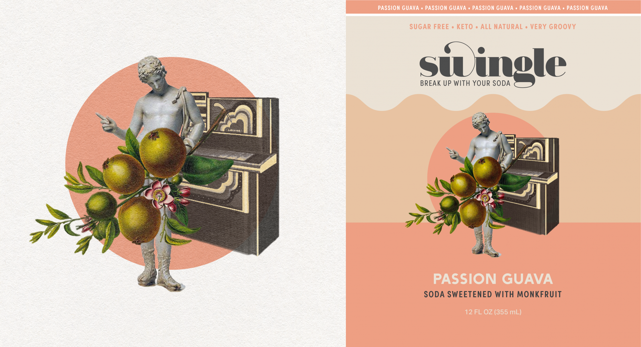 Label Art: A greek statue censored by passion fruits, collaged with a 70's jukebox and a pink circle.