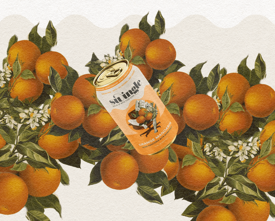 Surreal can of soda, floating over illustrated oranges.
